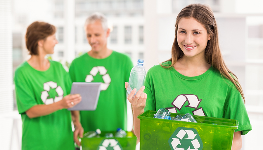 Group of People Recycling